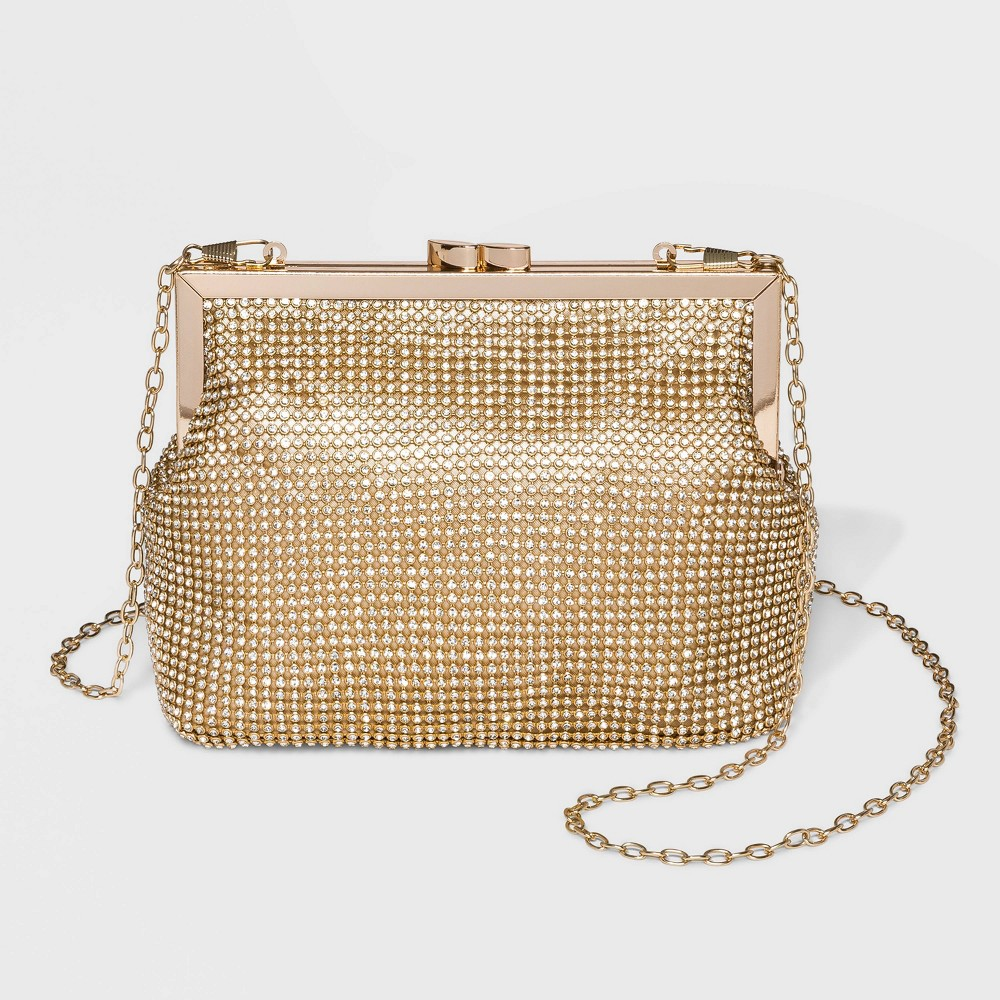 Image of Estee & Lilly Crystal Mesh Pouch Frame Clutch - Gold, Women's