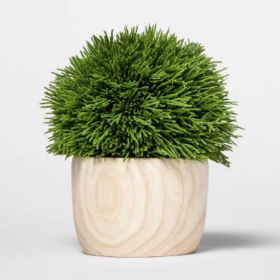 """6.9"""" x 6"""" Artificial Cypress Arrangement in Wooden Pot Green/Natural - Threshold™"""