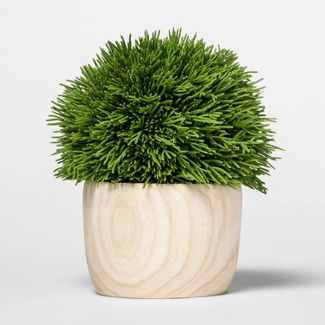 "6.9"" x 6"" Artificial Cypress Arrangement in Wooden Pot Green/Natural - Threshold™"
