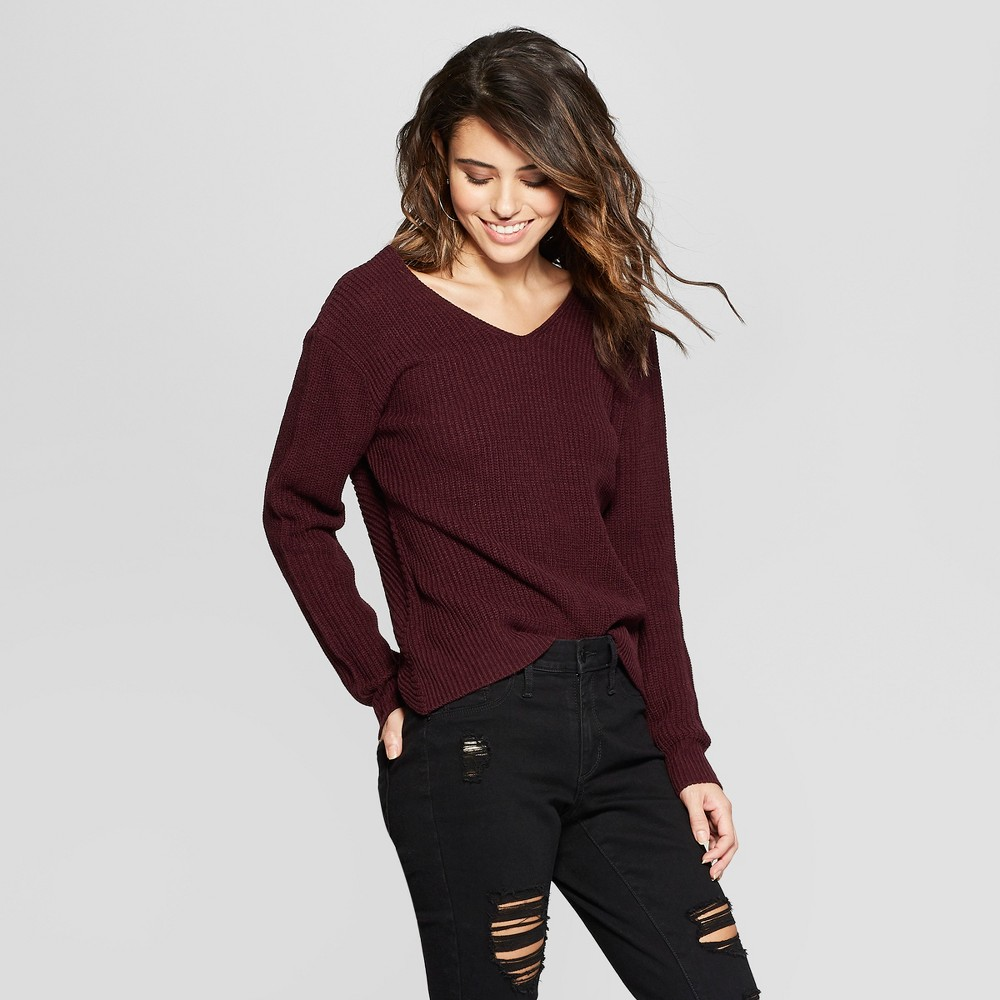 Women's Long Sleeve Twist Front Back Pullover Sweater - Almost Famous (Juniors') Purple L