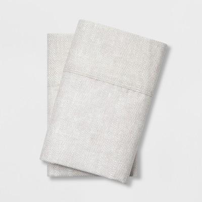 Standard 300 Thread Count Herringbone Ultra Soft Pillowcase Set Tan - Threshold™