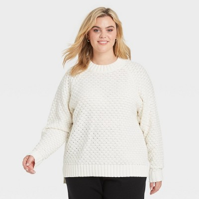 Women's Plus Size Textured Crewneck Pullover Sweater - Ava & Viv™