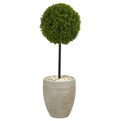 3ft Boxwood Ball Topiary Artificial Tree In Oval Beige Planter - Nearly Natural