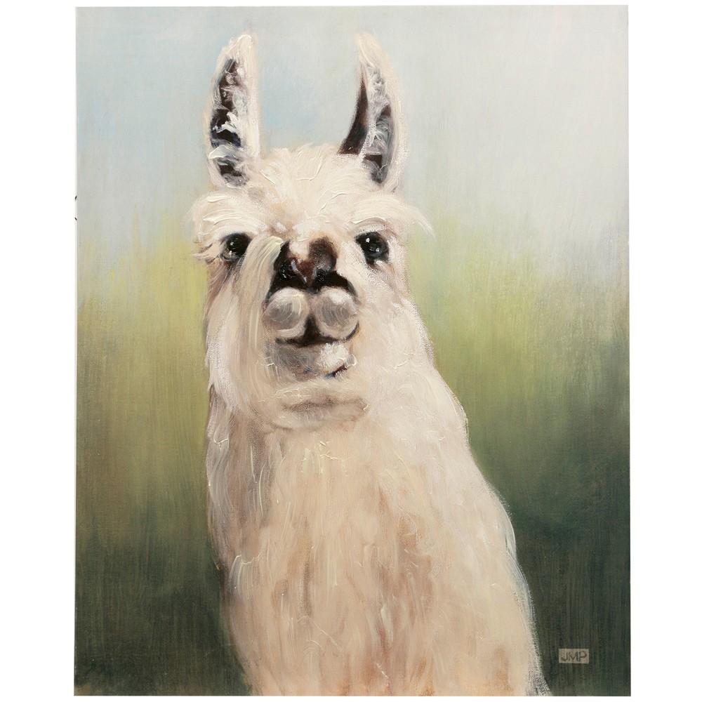 36.74 Llama Headshot with Handpainting Decorative Wall Art - StyleCraft, Multi-Colored