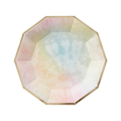 15ct Tie Dye with Foil Disposable Dinner Plates