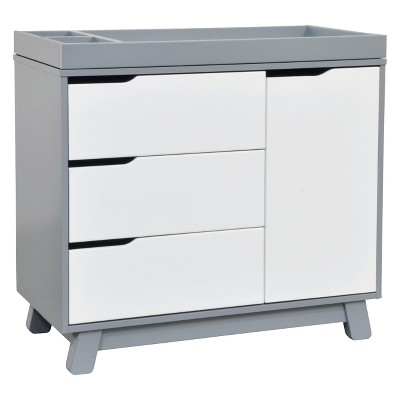 Babyletto Hudson 3-Drawer Changer Dresser with Changing Tray - Gray/White