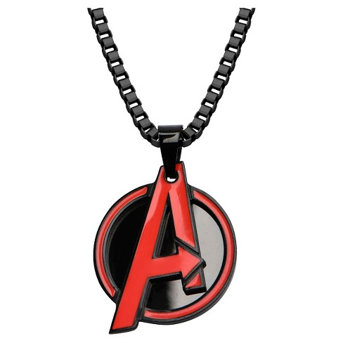 "Men's Marvel® The Avengers Logo Stainless Steel Pendant with Chain - Black (24"") - image 1 of 2"