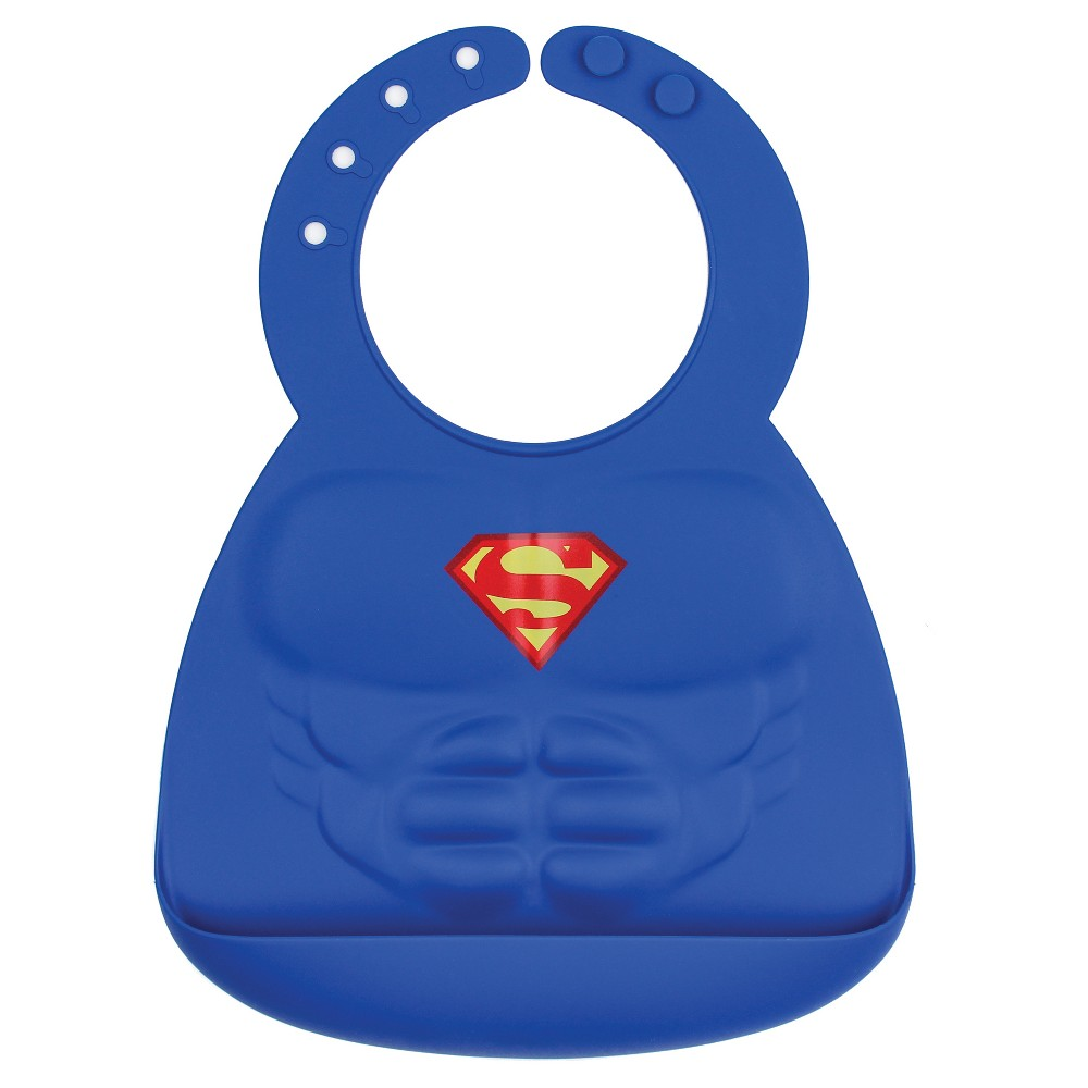 Image of Bumkins DC Comics Silicone Muscle Bib - Superman, Blue