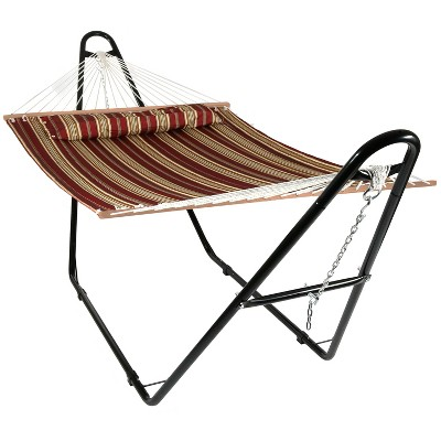 Quilted Double Fabric Hammock and Multi-Use Stand - Red Stripe - Sunnydaze Decor