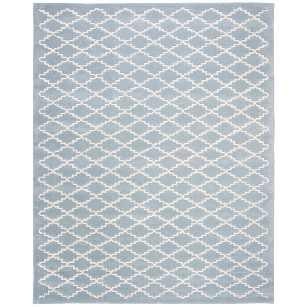 8 9 X12 Quatrefoil Design Tufted Area Rug Blue Ivory Safavieh