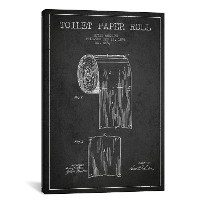 Toilet Paper Patent Blueprint by Aged Pixel Unframed Wall Canvas Print Heather Charcoal - iCanvas
