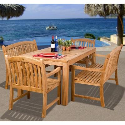 Holmes 5 Piece Teak Rectangular Patio Dining Furniture Set