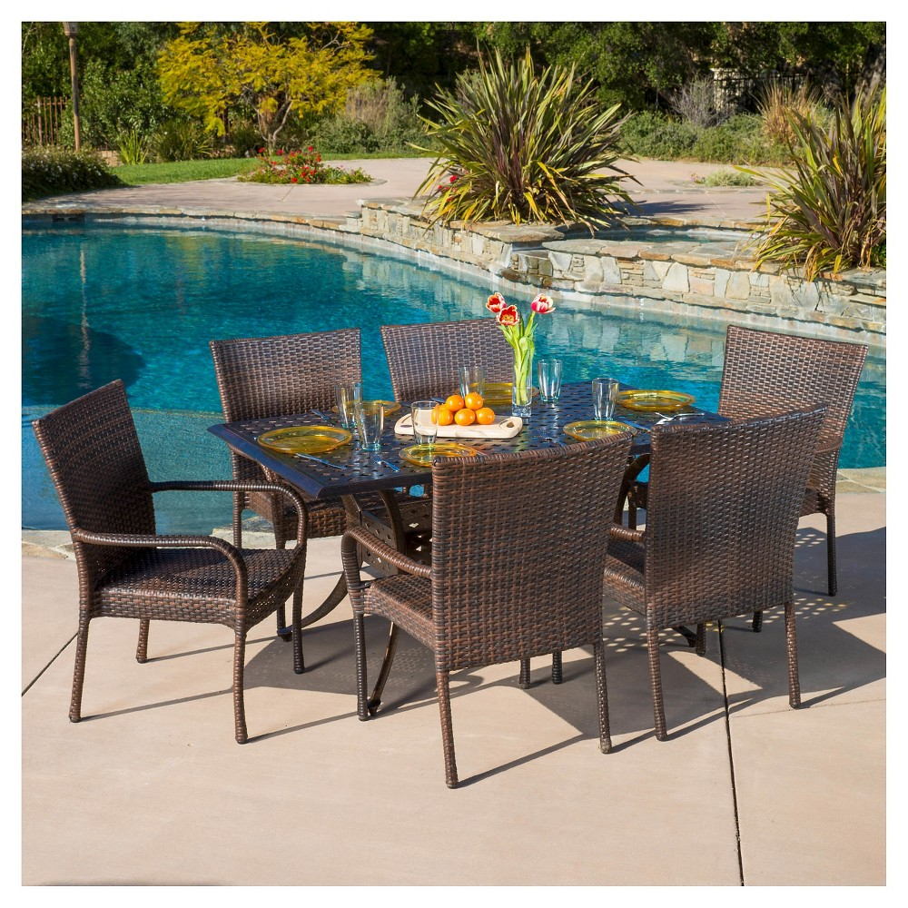 Littleton 7pc Cast Aluminum and Wicker Dining Set - Bronze/Brown - Christopher Knight Home