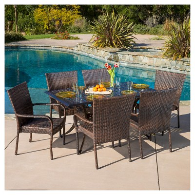 Littleton 7pc Cast Aluminum And Wicker Dining Set   Bronze/Brown    Christopher Knight Home : Target