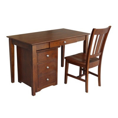 Skip 2 Drawer File Cabinet with Desk and Chair Espresso - International Concepts