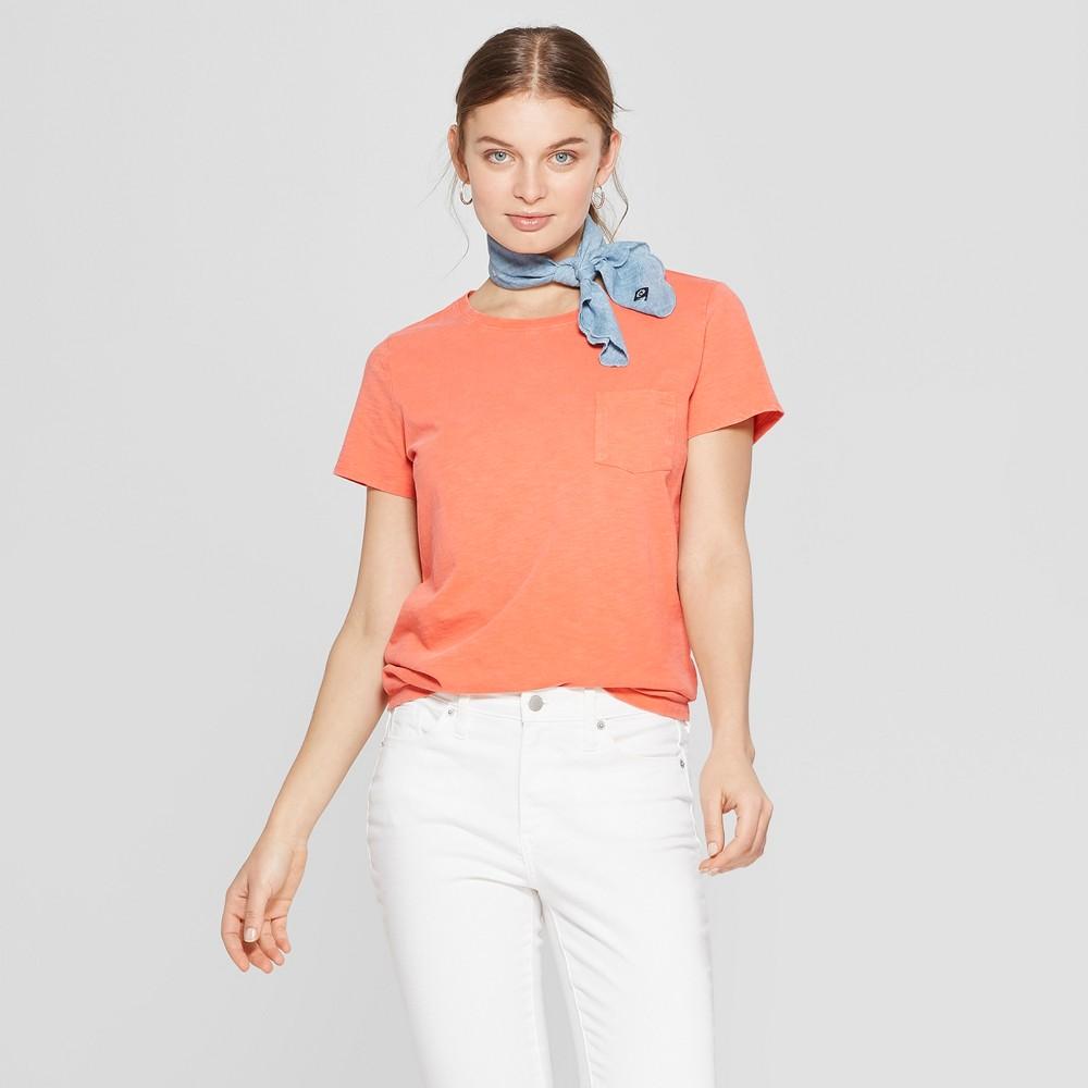 Women's Short Sleeve Crew Neck Meriwether Pocket T-Shirt - Universal Thread Orange XL