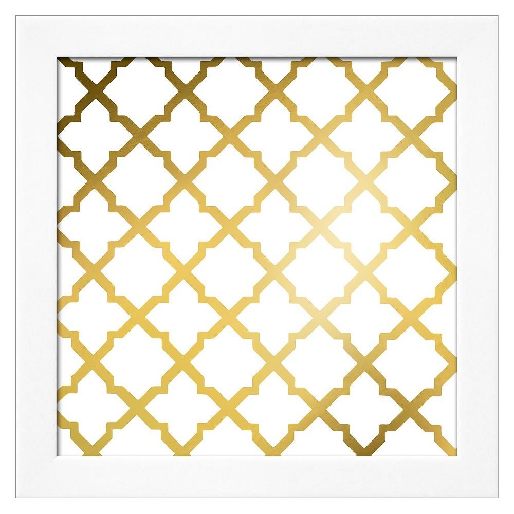 Gold Lattice I (gold foil) White Wood Framed Art Print