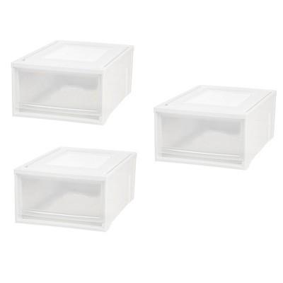 IRIS 30 Quart Medium Stackable Plastic Storage Chest Drawer Bin, White (3 Pack)