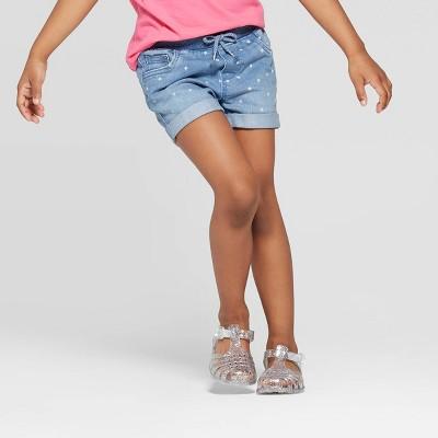 Toddler Girls' Star Print Jean Shorts - Cat & Jack™ Blue 12M