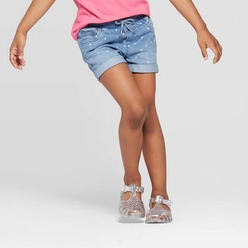 Toddler Girls' Star Print Jean Shorts - Cat & Jack™ Blue - image 1 of 3