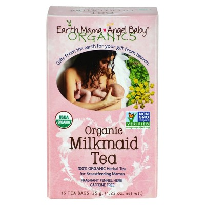 Earth Mama Angel Baby Organic Milk maid Tea for Breastfeeding and Nursing Mamas - 16ct