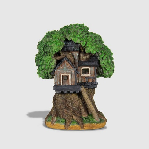 """12"""" Resin Solar Tree House With Ladder Brown - Exhart - image 1 of 2"""