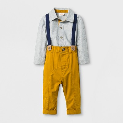 Baby Boys' 2pc Collared Button-Down Long Sleeve Bodysuit and Twill Pants with Suspenders Set - Cat & Jack™ Gray/Gold 6-9M