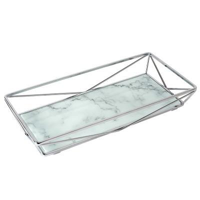 Geometric Tempered Glass Vanity Tank Tray White/Chrome - Home Details