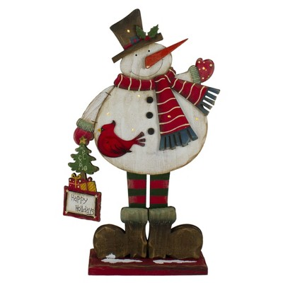 Northlight 17.5in Lighted Waving Happy Holidays Snowman Christmas Tabletop Decoration