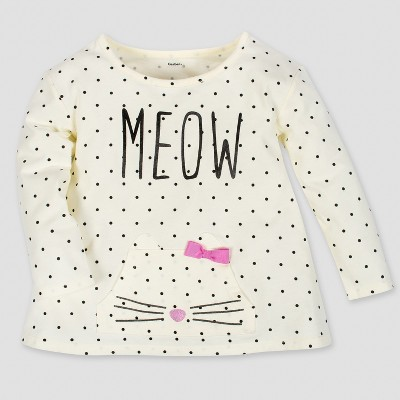 Gerber® Toddler Girls' Long Sleeve Meow Top with Front Pocket & Bow - Cream 3T