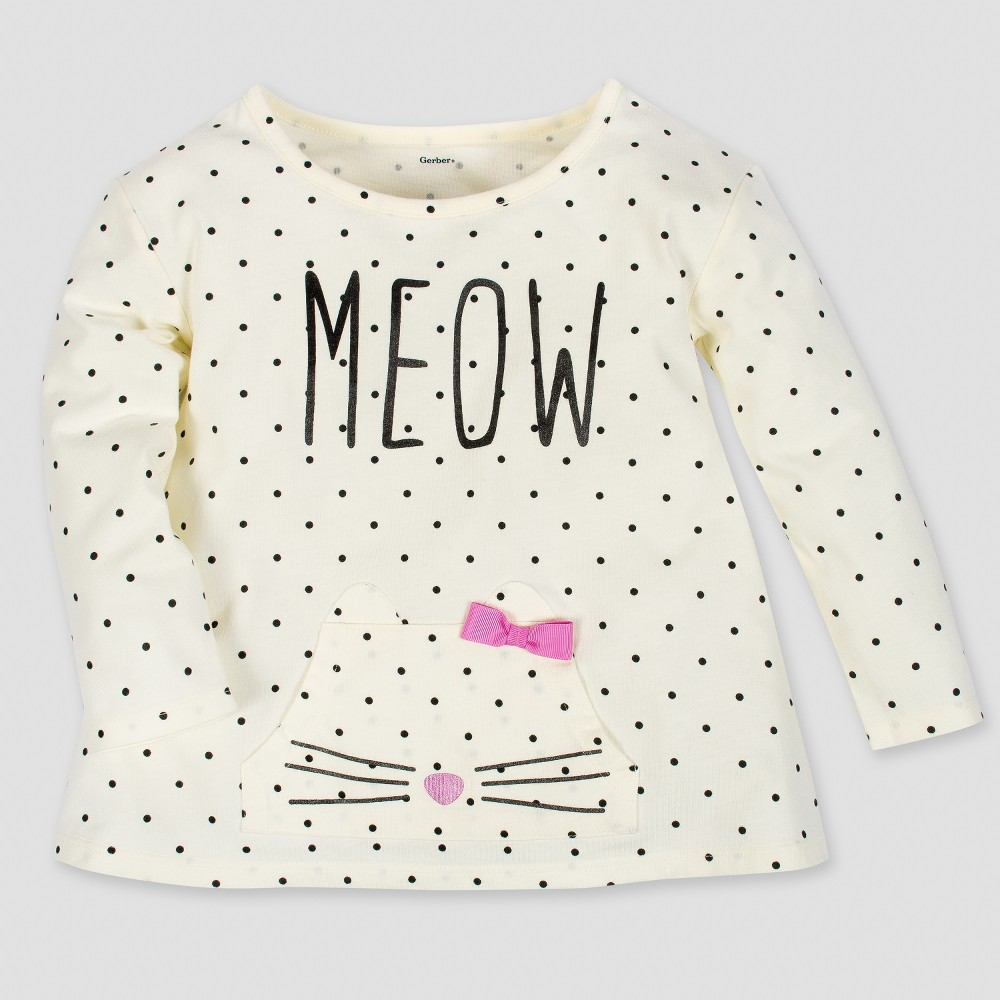 Gerber Toddler Girls' Long Sleeve Meow Top with Front Pocket & Bow - Cream 5T, Beige