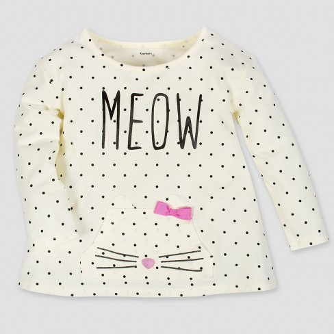 Gerber® Toddler Girls' Long Sleeve Meow Top with Front Pocket & Bow - Cream - image 1 of 1