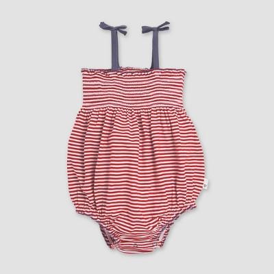 Burt's Bees Baby® Baby Girls' Americana Striped Bubble Bodysuit - Red/Off White/Black 0-3M