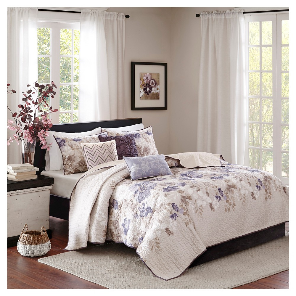 Willow Watercolor Floral Quilted Coverlet Set (Full/Queen) Taupe (Brown) - 6pc