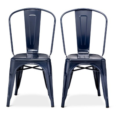Carlisle High Back Metal Dining Chair Set of 2 - Navy - Ace Bayou