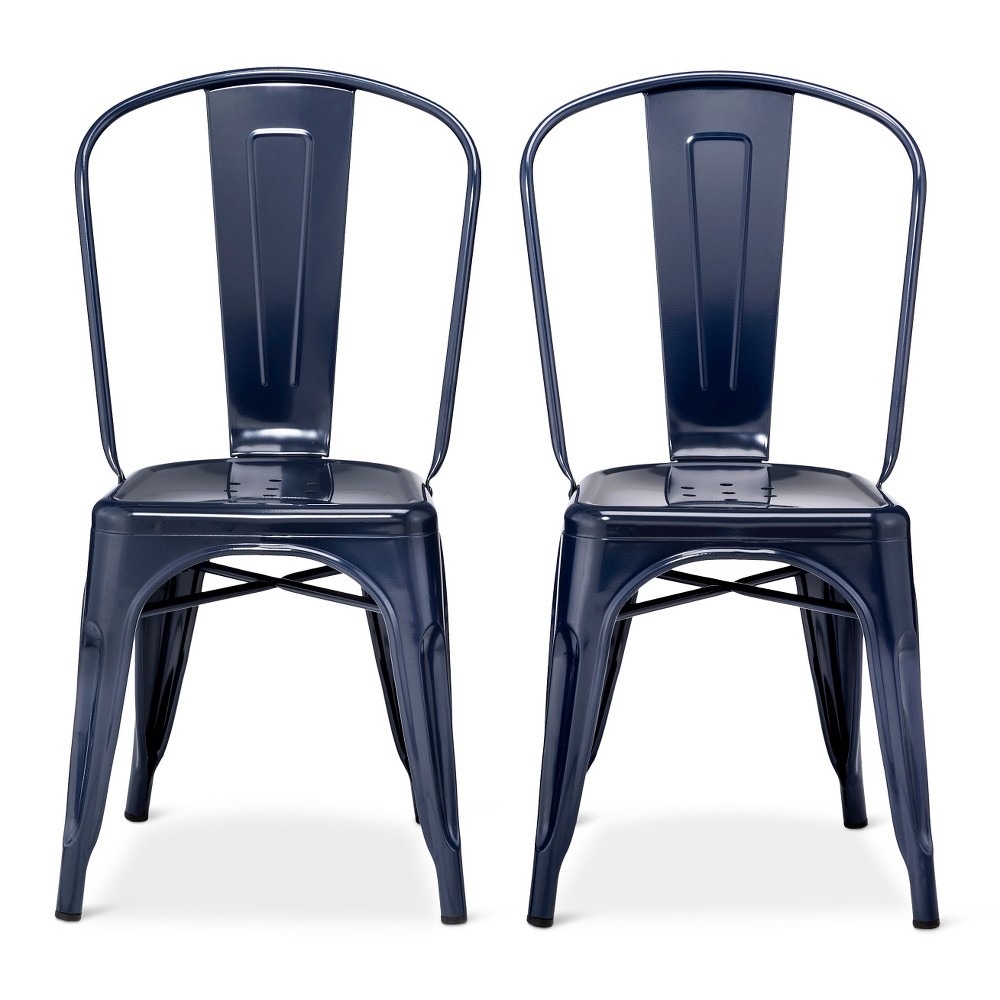 Image of Carlisle High Back Metal Dining Chair Set of 2 - Navy - Ace Bayou, Size: 2 Pack - Ships Flat, Blue