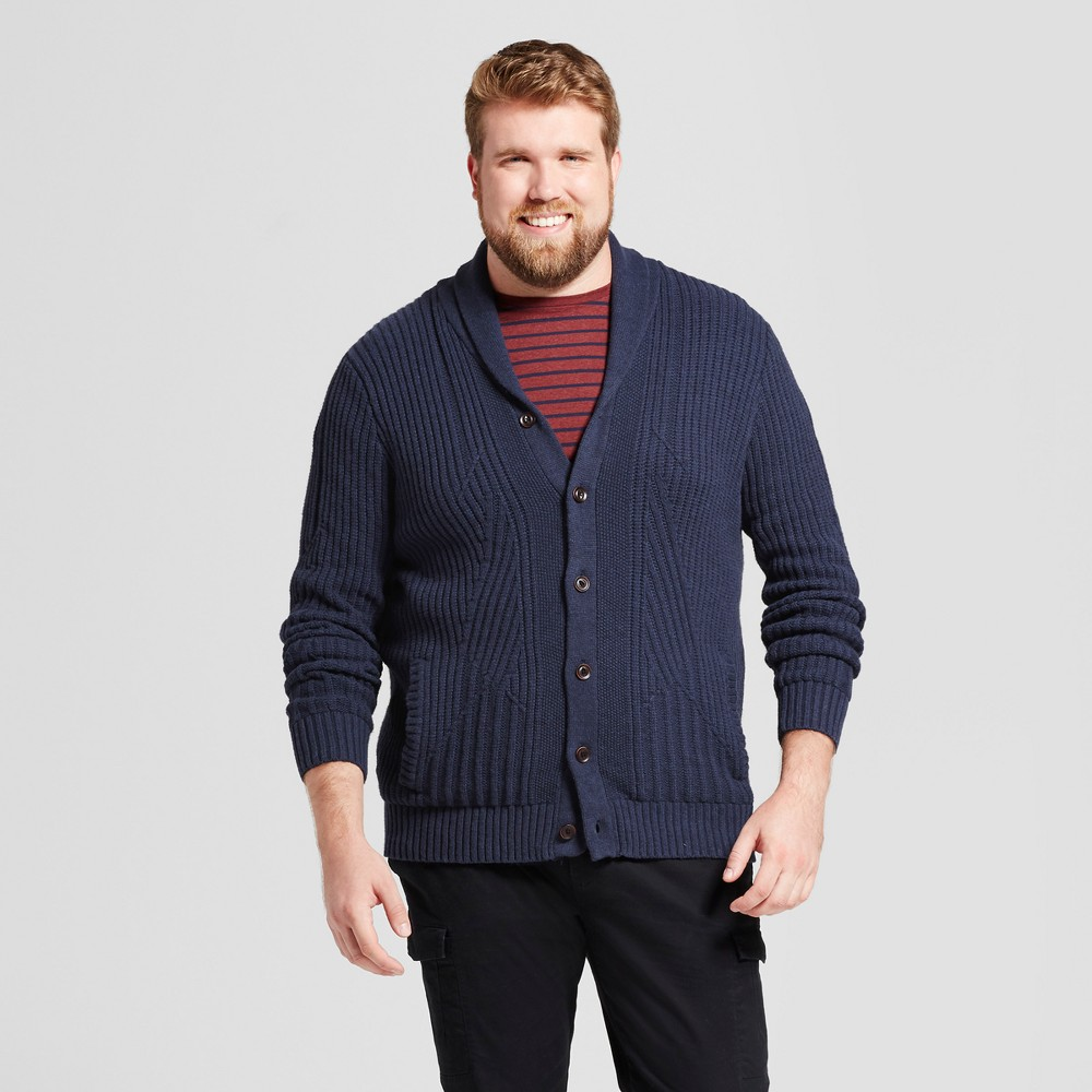 Men S Big Tall Shawl Cable Cardigan Goodfellow Co 8482 Navy 2xlt