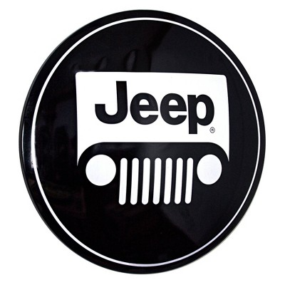 Licensed Jeep Logo Dome Metal Sign White/Black - Crystal Art Gallery