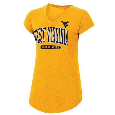 NCAA West Virginia Mountaineers Women's Short Sleeve V-Neck Yellow T-Shirt