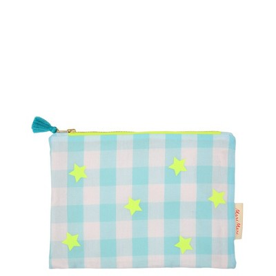 Meri Meri - Blue & Neon Gingham Pouch - Handbags - 1ct