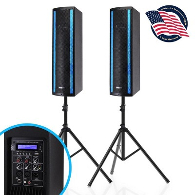 Pyle PS65ACT 3 x 6.5 Inch Active and Passive Bluetooth Combo Speaker Boxes System with RGB LED Lights and Tripod Stands