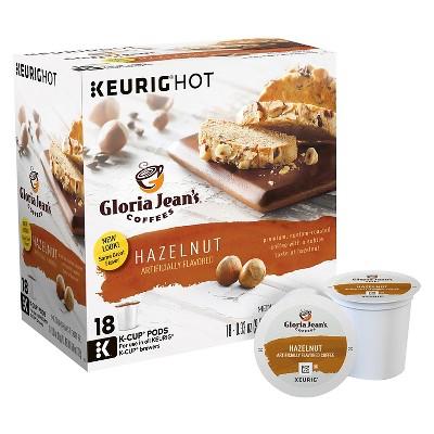 Gloria Jeans Coffees Hazelnut Flavored Medium Roast Coffee - Keurig K-Cup Pods - 18ct