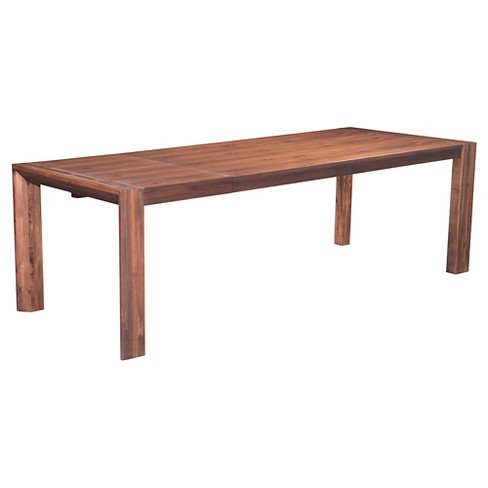 Wood And Metal Farmhouse Style 75 94 Rectangular Extension Dining Table Chestnut Zm Home