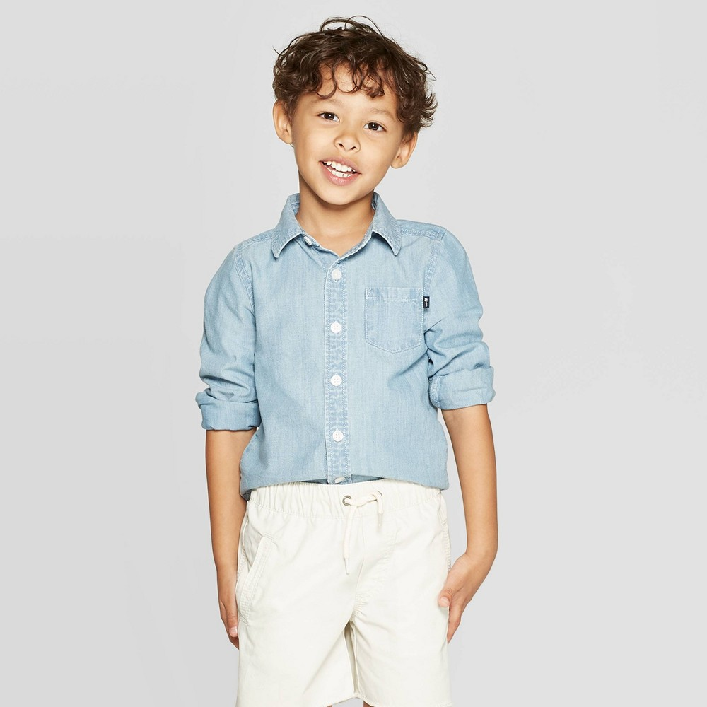 Image of OshKosh B'gosh Toddler Boys' Long Sleeve Button-Down Shirt - Light Blue 12M, Toddler Boy's