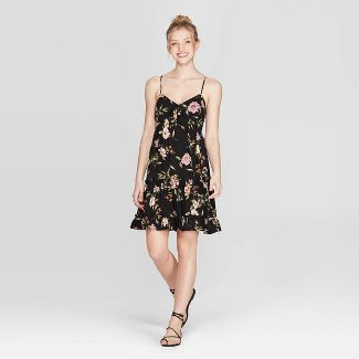 Women's Floral Print V-Neck Strappy Tie Front Babydoll Dress - Xhilaration™ Black XS