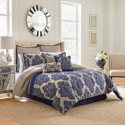 Navy Monte Carlo Comforter Set (Queen)13pc - Vue Signature