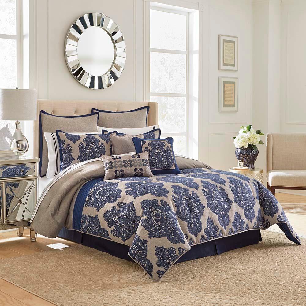 Navy Monte Carlo Comforter Set (King) 13pc - Vue Signature, Blue