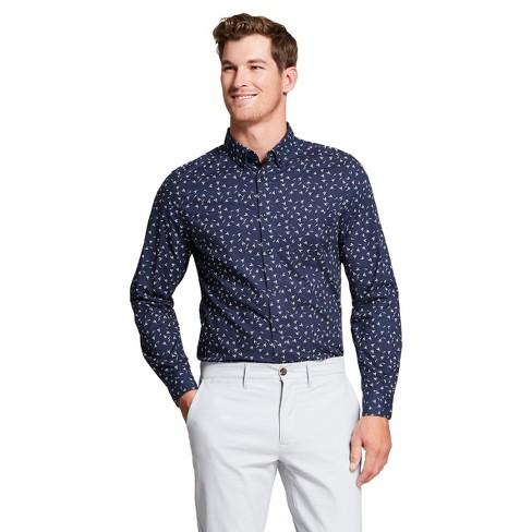fb6076ce3 Men s Slim Fit Northrop Long Sleeve Button-Down Shirt - Goodfellow   Co™  True Navy   Target