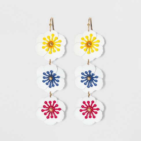 Linear Drop Floral Earrings - A New Day™ - image 1 of 3