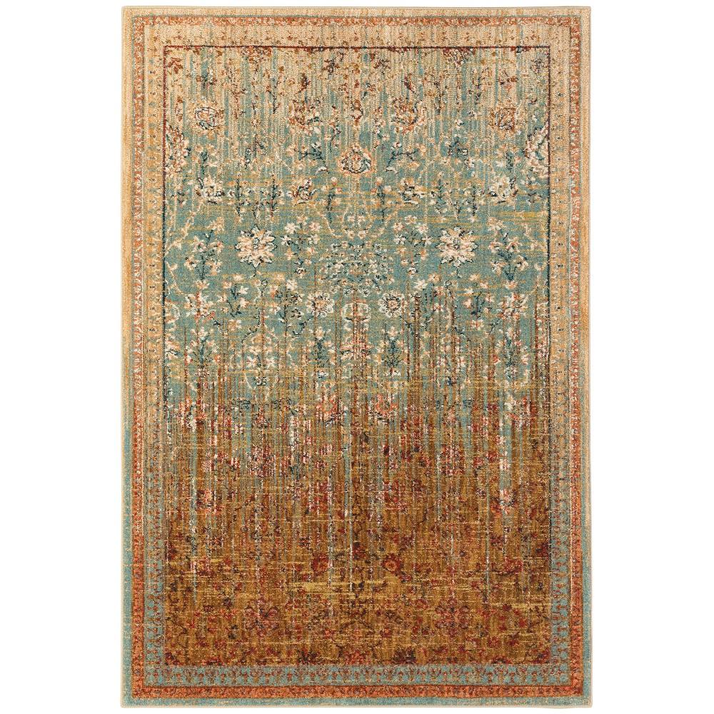 "Image of ""9'6""""x12'11"""" Floral Woven Area Rug Aqua - Karastan, Blue"""